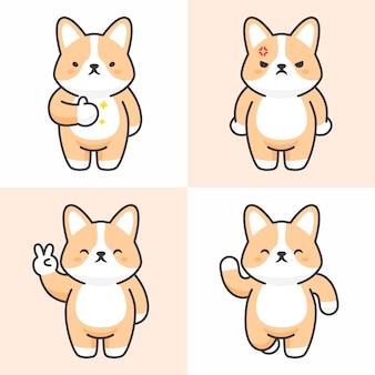 Векторный набор милых персонажей корги