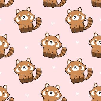 かわいいレッサーパンダのシームレスなパターン背景
