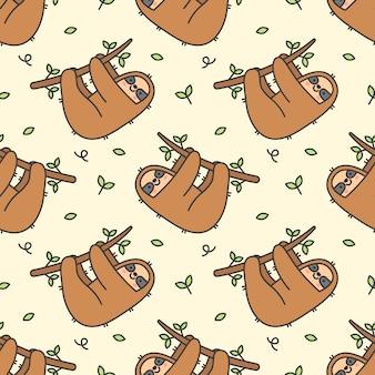 かわいいナマケモノのシームレスパターン