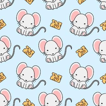 かわいいマウスとチーズのシームレスパターン