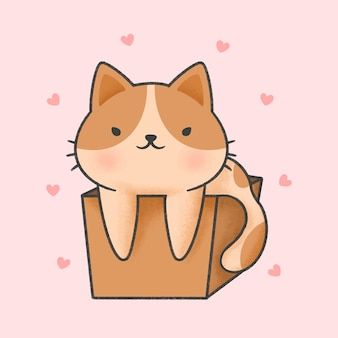 Милый кот в коробке мультяшный рисованной стиль