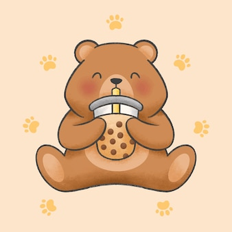 かわいいクマはバブルミルクティー漫画手描きスタイルを食べる