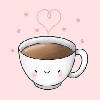 かわいい一杯のコーヒー漫画手描きスタイル