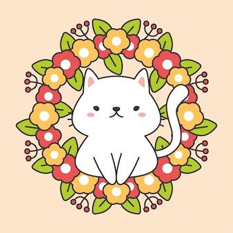 葉とかわいい猫のキャラクターと花の花輪
