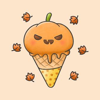 かわいいカボチャのアイスクリーム