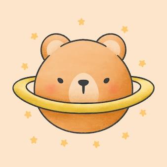Медведь сатурн планета мультфильм рисованной стиль