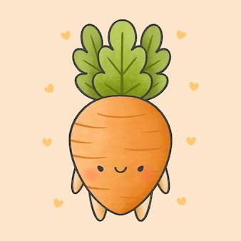 Симпатичный морковный мультфильм рисованной стиль