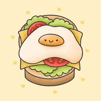 チーズサンドイッチ漫画手描きスタイルの目玉焼き