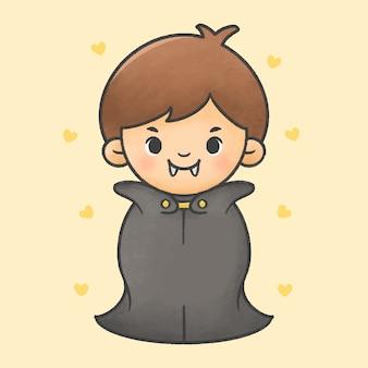 ドラキュラハロウィンコスチューム漫画手描きスタイルを着ている少年