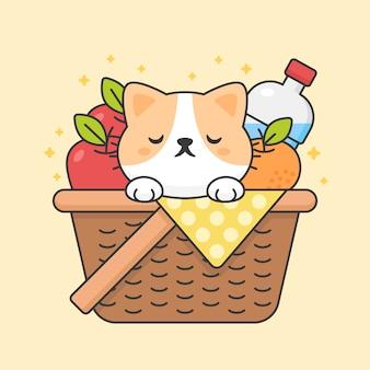 Милый кот в корзине для пикника