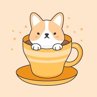 一杯のコーヒーでかわいいコーギー犬