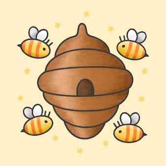 Пчелиный улей и милые пчелы
