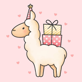 Милый мультфильм ламы и подарочные коробки