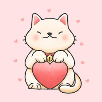 Милый кот держит сердце мультяшный рисованной стиль