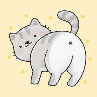 Милый кот, оглядываясь назад, мультфильм рисованной стиль