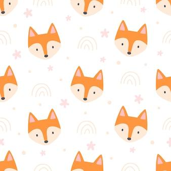 Симпатичная лиса бесшовный фон фон