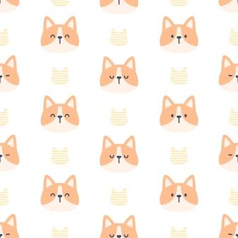 コーギー犬のシームレスなパターン背景
