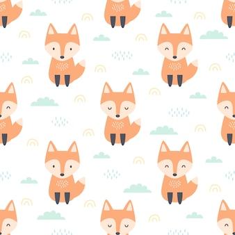 Оранжевый рыжий лис сидит на поле бесшовный фон