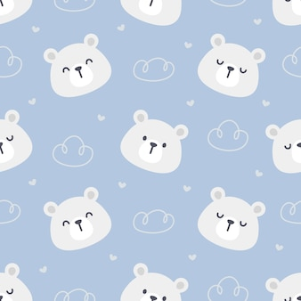 Белый медведь бесшовный фон