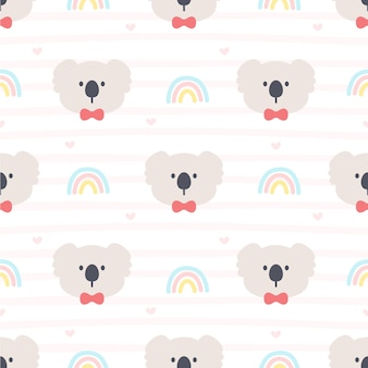 Симпатичные коала и радуга бесшовный фон