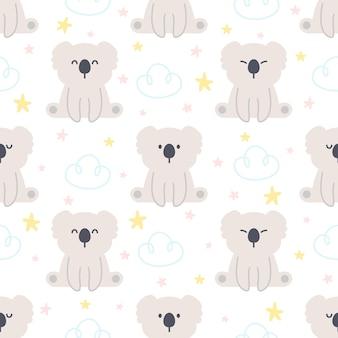 Симпатичные коала и небо бесшовный фон фон