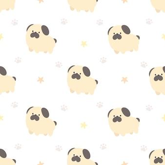 かわいいパグ犬のシームレスなパターン背景