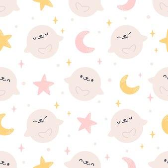 Симпатичные печать с луной звезды бесшовный фон фон