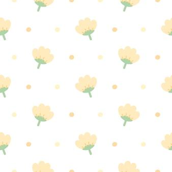 かわいい黄色の花のシームレスなパターン背景