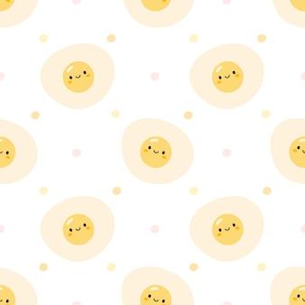 Симпатичные жареные яйца бесшовные узор фона