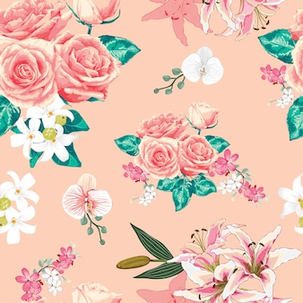 シームレスなパターンピンクのパステルは、花をバラ。