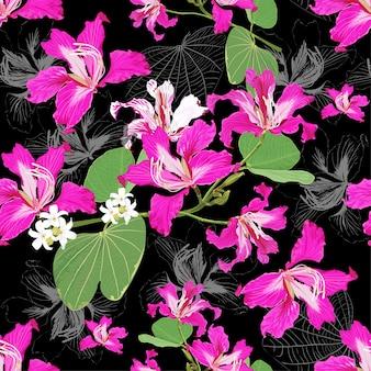 シームレスなパターン白とピンクの野生の花の抽象的な背景。