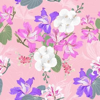 シームレスなパターン白い蘭とピンクの野生の花の背景。