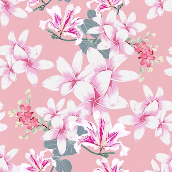 シームレスなパターンプルメリアとピンクの野生の花パステルの背景。