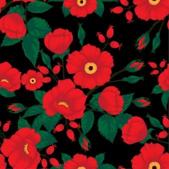 シームレスなパターン野生のバラの花。