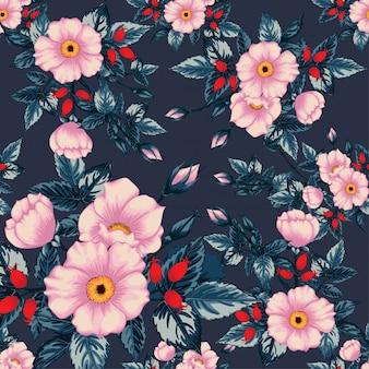シームレスなパターンヴィンテージ野生のバラ花。
