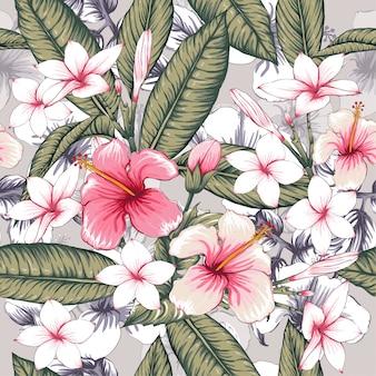 シームレスなパターンピンクハイビスカス、フランギパニの花の背景。