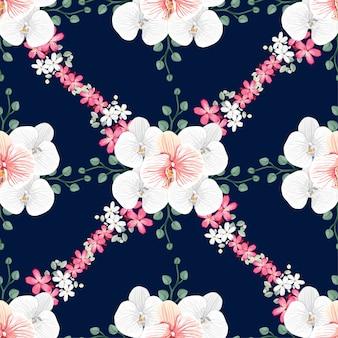 シームレスなパターンの白い蘭とピンクの野生の花の背景。