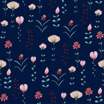 シームレスなパターンダークブルーの背景にピンクの野生の花。