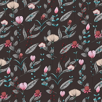 シームレスなパターンピンクの野生の花、暗い背景。