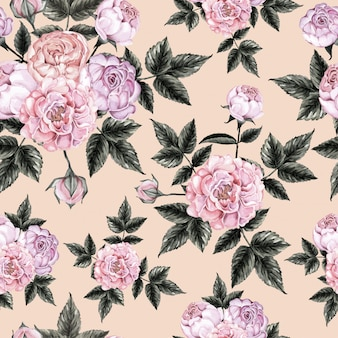 Бесшовные розовые цветы старинные.