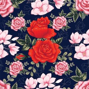 シームレスパターン赤バラの花濃い青の背景。