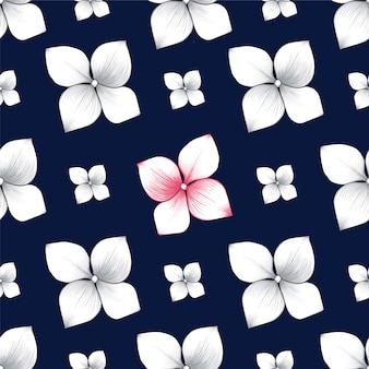 シームレスパターンのアジサイの花の抽象的な背景。
