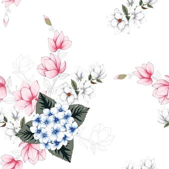 シームレスパターンの美しい花の背景。