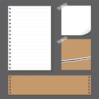 白と茶色のメモ用紙ベクトルイラスト。