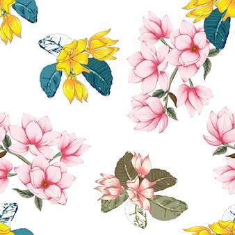 Бесшовный фон розовые пастельные цветы магнолии и иланга.