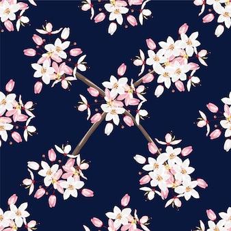 シームレスパターン白とピンクのカラパプルック花暗い青色の背景色。