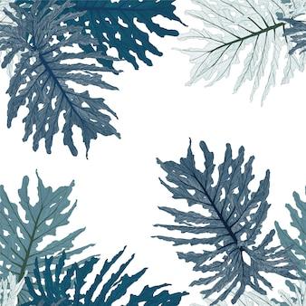 Бесшовные тропические зеленые листья монстера