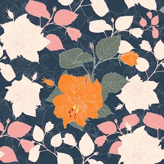 ハイビスカスの花と植物のシームレスパターン黒背景。