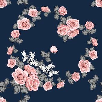 シームレスパターンピンクローズビンテージ花の背景