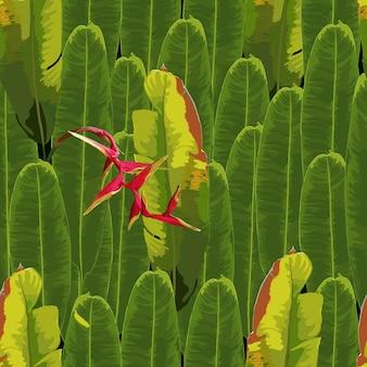 赤のヘリコニアの花の背景と熱帯のシームレスパターン